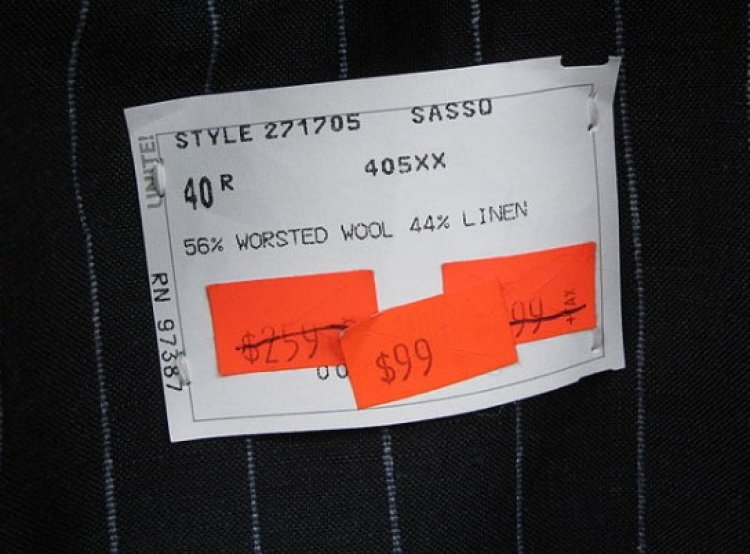 Fabric contents label a man's suit reveals that it is shatnez (Photo - Wikipedia)