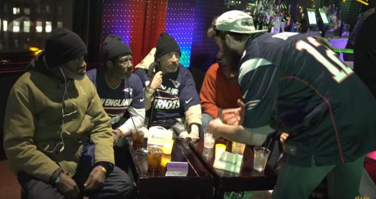 Meir Kay at Super Bowl perty with homeless people. You tube screen shot