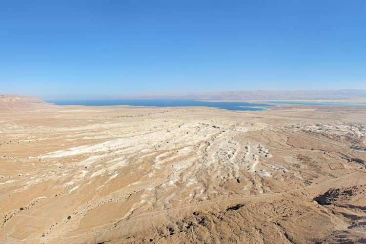 View of Dead Sea and Moab Mountains from the Masada fortress, Israel (Shutterstock)