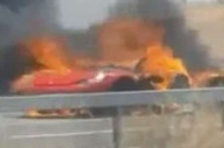 Ferrari Goes Up in Flames Near Kiryat Gat, Israel - Watch