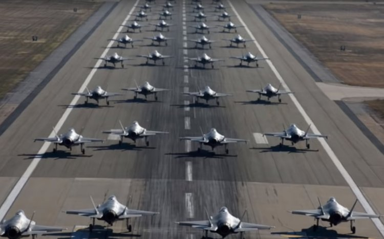Watch: US Air Force Conducts First F-35 'Elephant Walk' Drill