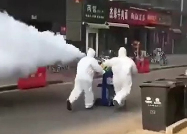 China Sprays City Streets with Chemicals to Prevent Coronavirus from Spreading - Watch