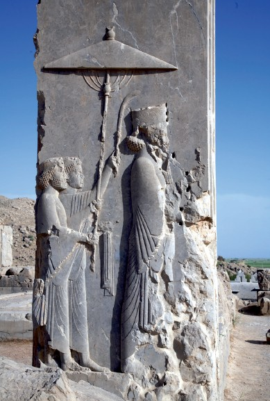 The Persian king Xerxes I, is Ahasuerus, statue found in the ruins of his palace at Persepolis, Iran