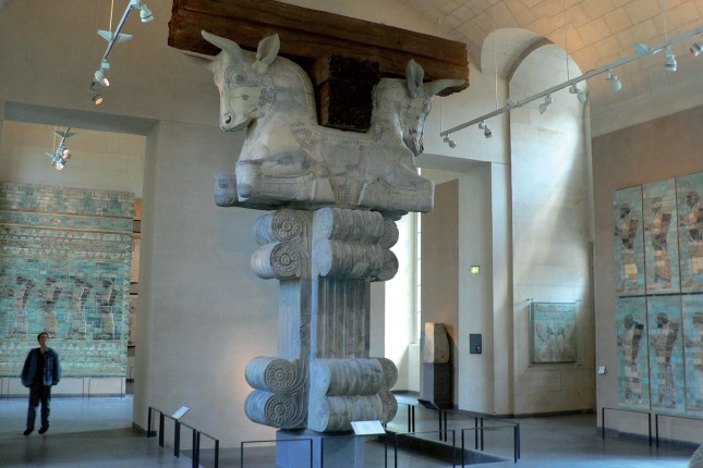 Bulls made from marble adorned the pillars of Ahasuerus's palaces, and were found in Shushan