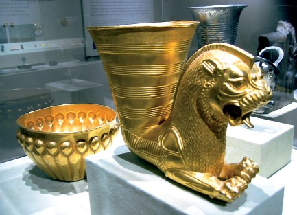 Royal cups and bowls of gold and silver, of excessive size, used for drinking at the feasts of Persian Kings