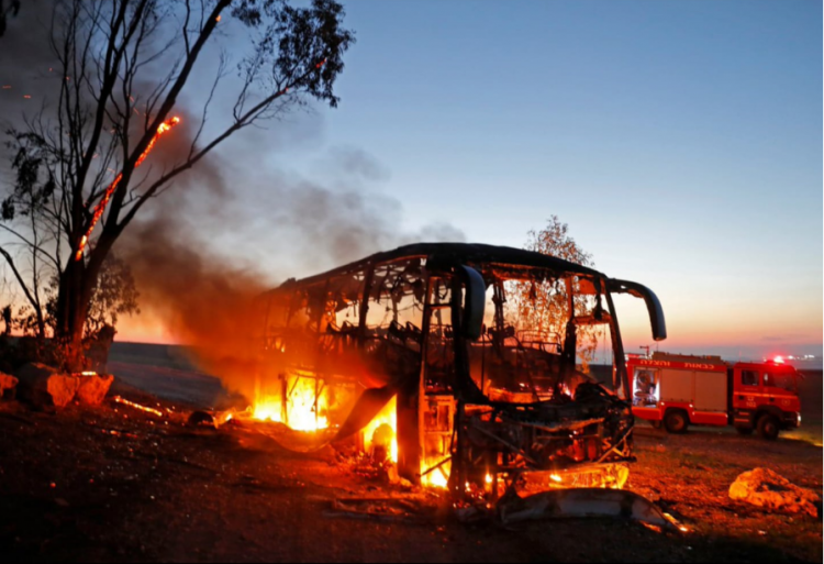 The remains of the bus after the attack